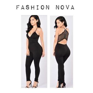 Fashion Nova Black Lace Back Jumpsuit